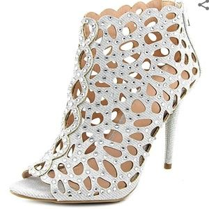 Zigi Soho Silver Rhinestone Caged Heels